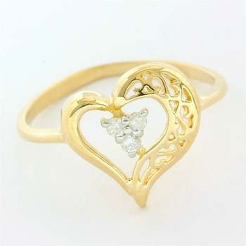 Solid 10k Yellow Gold, 0.05ctw Genuine Diamond Ring Size 5.75