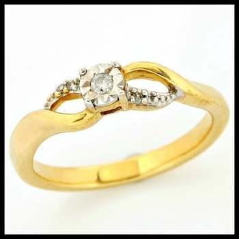 Solid 10k Yellow Gold, 0.05ctw Genuine Diamonds Ring sz 6 3/4
