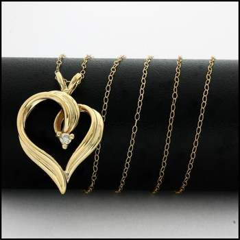 Solid 10k Yellow Gold, 0.06ctw Genuine Diamond Heart Necklace