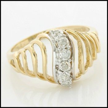 Solid 10k Yellow Gold, 0.06ctw Genuine Diamonds Ring size 6.25