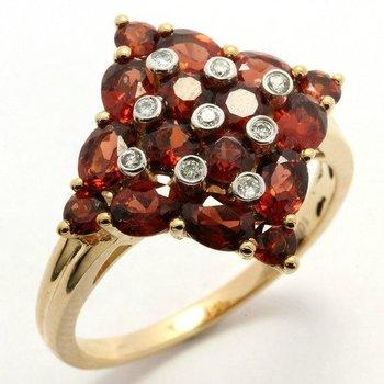 Solid 10k Yellow Gold, 0.07ctw Genuine Diamonds & 2.50ctw Genuine Garnet Ring sz 7