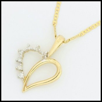 Solid 10k Yellow Gold, 0.07ctw Genuine Diamonds Heart Shape Pendant Necklace