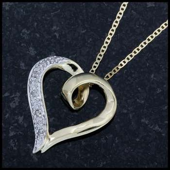 Solid 10k Yellow Gold, 0.08ctw Genuine Diamond Heart Necklace