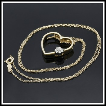 Solid 10k Yellow Gold, 0.08ctw Genuine Diamonds Heart Shape Necklace