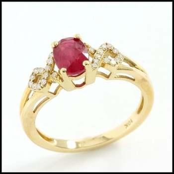 Solid 10k Yellow Gold, 0.10ctw Genuine Diamond & 1.50ctw Ruby Ring Size 7