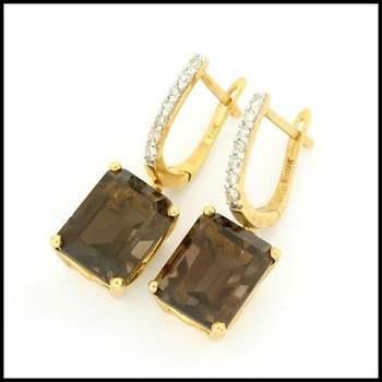 Solid 10k Yellow Gold, 0.10ctw Genuine Diamond & 8.50ctw Smoky Quartz Earrings