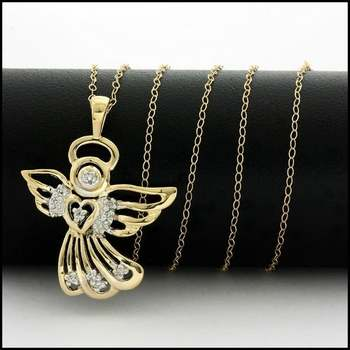 Solid 10k Yellow Gold, 0.10ctw Genuine Diamond Angel Necklace