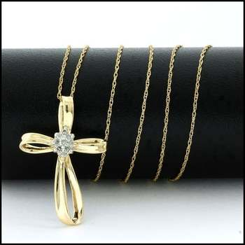 Solid 10k Yellow Gold, 0.10ctw Genuine Diamond Cross Necklace