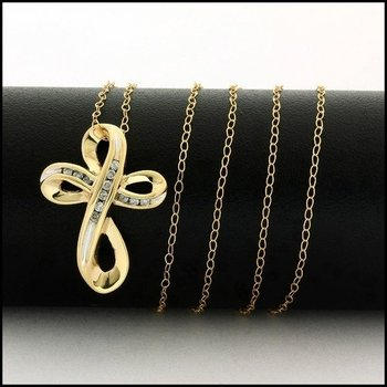 Solid 10k Yellow Gold, 0.10ctw Genuine Diamond Cross Necklace