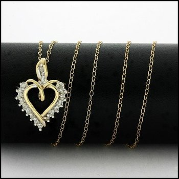 Solid 10k Yellow Gold, 0.10ctw Genuine Diamond Heart Necklace