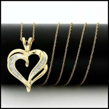 Solid 10k Yellow Gold, 0.10ctw Genuine Diamond Necklace with Heart Shape Pendant