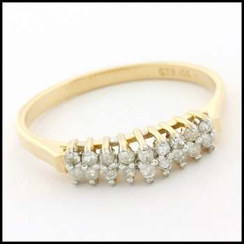 Solid 10k Yellow Gold, 0.10ctw Genuine Diamond Ring Size 7