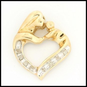 Solid 10k Yellow Gold, 0.10ctw Genuine Diamonds Heart Shape Pendant