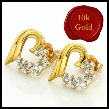 Solid 10k Yellow Gold, 0.10ctw Genuine Diamonds Heart Shape Stud Earrings