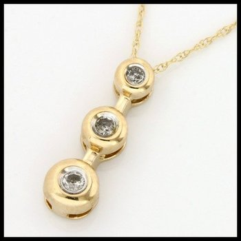 Solid 10k Yellow Gold, 0.10ctw Genuine Diamonds Necklace