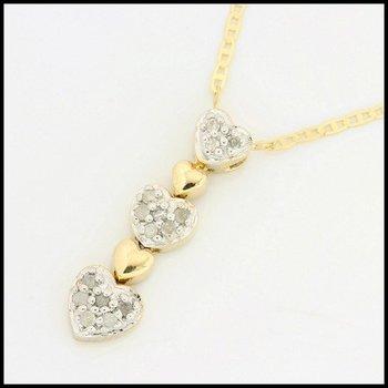 Solid 10k Yellow Gold, 0.10ctw Genuine Diamonds Pendant Necklace