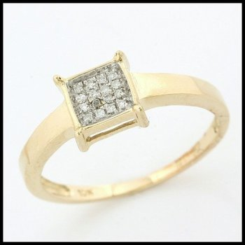 Solid 10k Yellow Gold, 0.10ctw Genuine Diamonds Ring size 7.5