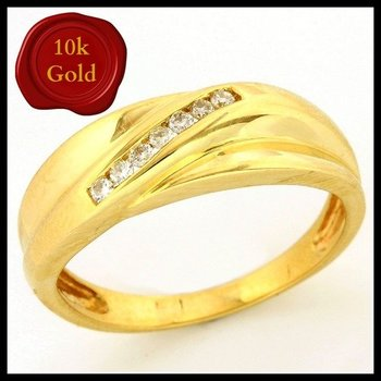 Solid 10k Yellow Gold, 0.10ctw Genuine Diamonds Ring size 8