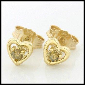Solid 10k Yellow Gold, 0.10ctw Genuine F.Y. I1 Diamonds Stud Earrings