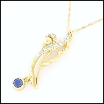 Solid 10k Yellow Gold, 0.10ctw Genuine Sapphire & 0.01ctw Genuine Diamond Necklace