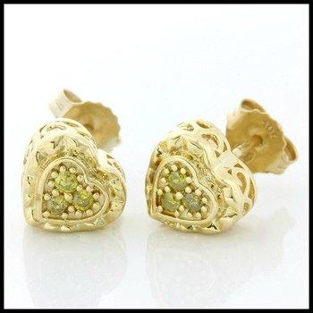 Solid 10k Yellow Gold, 0.10ctw Genuine Yellow Diamond Stud Earrings