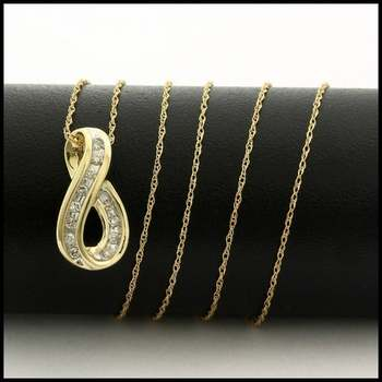 Solid 10k Yellow Gold, 0.12ctw Genuine Diamond Necklace with Pendant