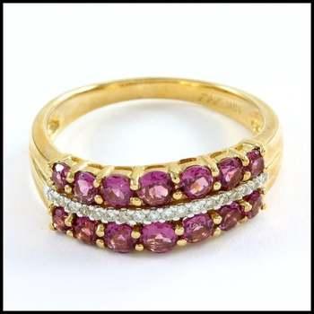 Solid 10k Yellow Gold, 0.12ctw Genuine Diamonds & 1.33ctw Genuine Rhodolite Ring sz 7