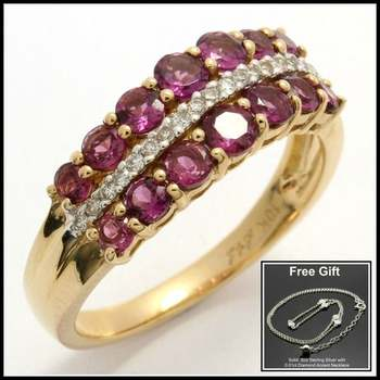 Solid 10k Yellow Gold, 0.12ctw Genuine Diamonds & 1.33ctw Genuine Rhodolite Ring sz 7 & Free .925 Sterling Silver Necklace