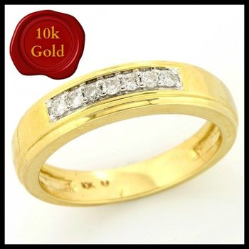 Solid 10k Yellow Gold, 0.12ctw Genuine Diamonds Ring size 6 3/4