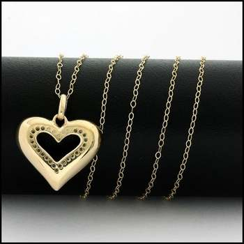 Solid 10k Yellow Gold, 0.13ctw Genuine Diamond Heart Necklace