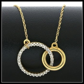 Solid 10k Yellow Gold, 0.13ctw Genuine Diamonds Necklace