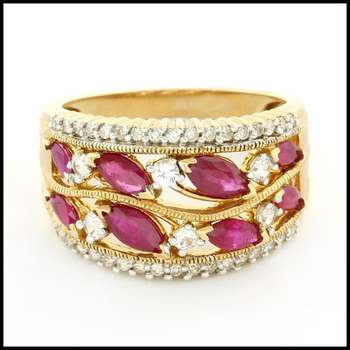 Solid 10k Yellow Gold, 0.15ctw Genuine Diamond & 2.0ctw Ruby & 0.40ctw White Sapphire Ring Size 7.25