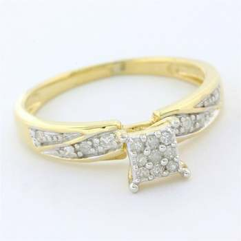 Solid 10k Yellow Gold, 0.15ctw Genuine Diamond Engagement Ring Size 6