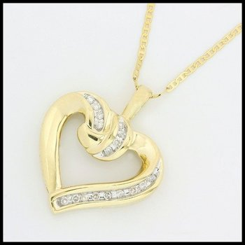 Solid 10k Yellow Gold, 0.15ctw Genuine Diamond Heart Necklace