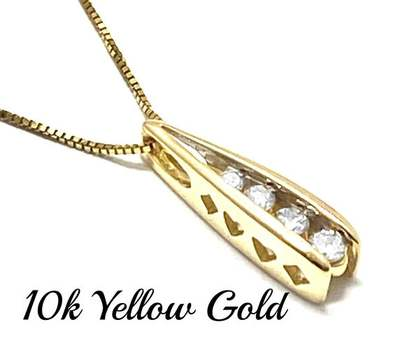 Solid 10k Yellow Gold, 0.15ctw Genuine Diamond Necklace