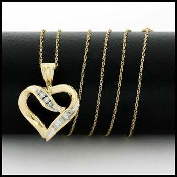 Solid 10k Yellow Gold, 0.15ctw Genuine Diamond Necklace with Heart Shape Pendant