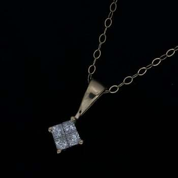 Solid 10k Yellow Gold, 0.15ctw Genuine Diamond Necklace with Pendant