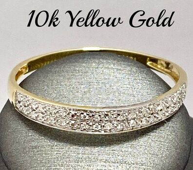 Solid 10k Yellow Gold, 0.15ctw Genuine Diamond Ring Size 9