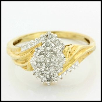 Solid 10k Yellow Gold, 0.15ctw Genuine Diamonds Cluster Ring size 7