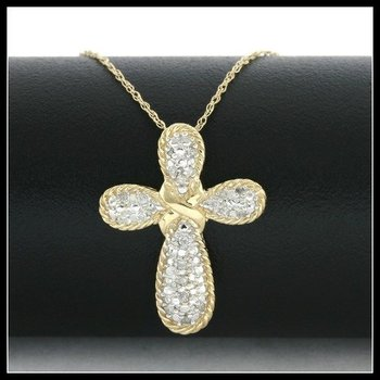 Solid 10k Yellow Gold, 0.15ctw Genuine Diamonds Cross Necklace