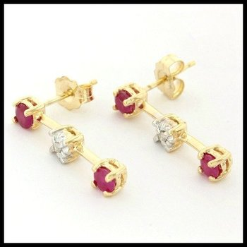 Solid 10k Yellow Gold, 0.15ctw Genuine Ruby & Genuine Diamonds Earrings