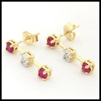 Solid 10k Yellow Gold, 0.15ctw Genuine Ruby & Genuine Diamonds Earrings