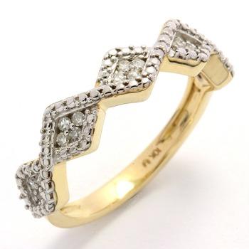 Solid 10k Yellow Gold, 0.16ctw Genuine Diamonds Ring sz 7
