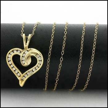 Solid 10k Yellow Gold, 0.20ctw Genuine Diamond Heart Necklace