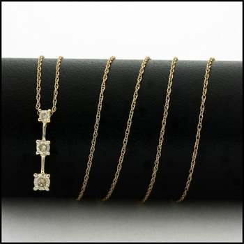 Solid 10k Yellow Gold, 0.20ctw Genuine Diamond Necklace