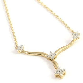 Solid 10k Yellow Gold 0.20ctw Genuine Diamond Necklace