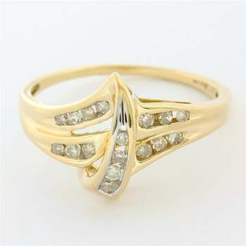 Solid 10k Yellow Gold, 0.20ctw Genuine Diamond Ring Size 6.75