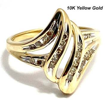 Solid 10k Yellow Gold, 0.20ctw Genuine Diamond Ring Size 7