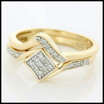 Solid 10k Yellow Gold, 0.20ctw Genuine Diamonds Bridal Engagement Ring Set sz 7