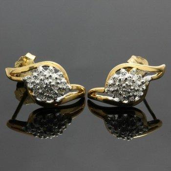 Solid 10k Yellow Gold, 0.20ctw Genuine Diamonds Earrings